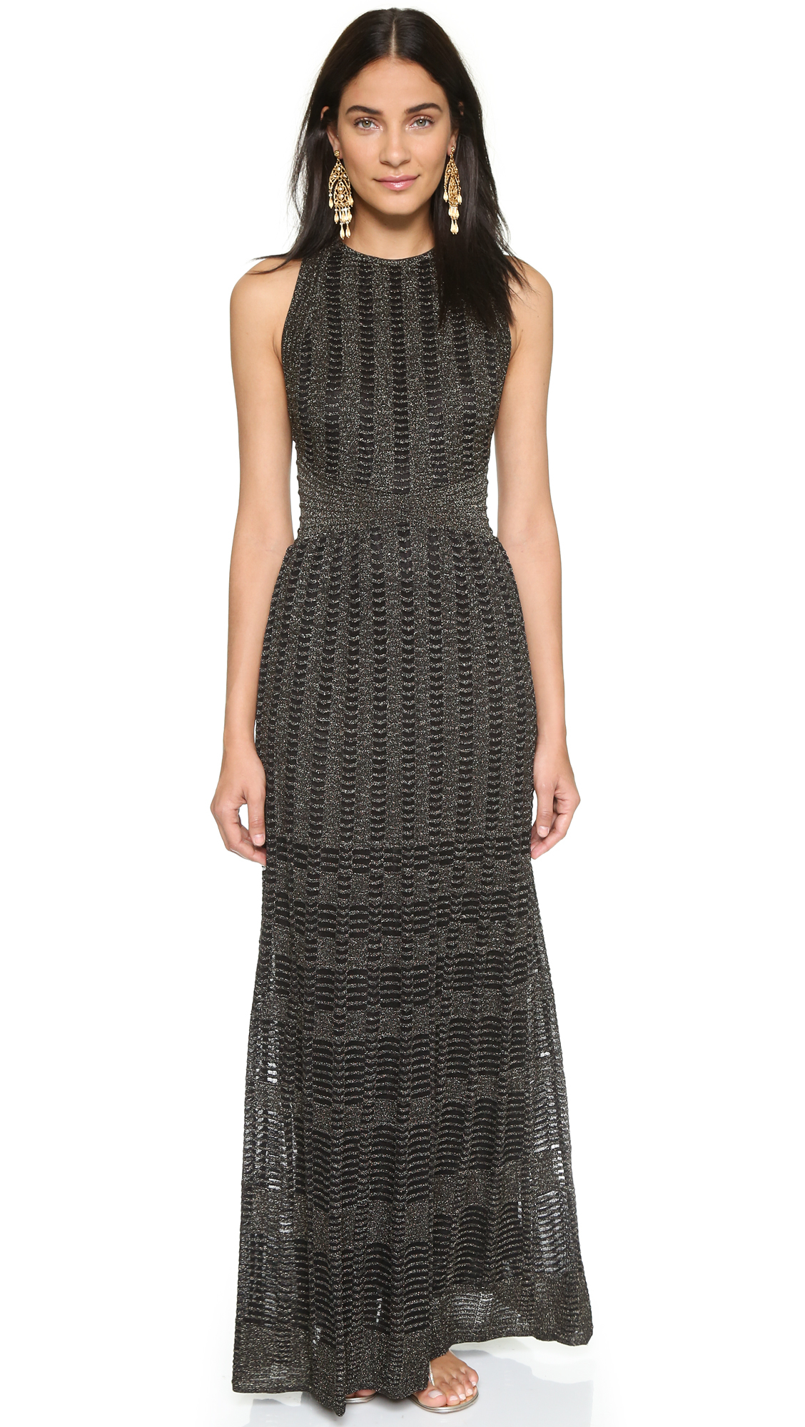 M missoni Knit Stripe Maxi Dress - Black in Black  Lyst