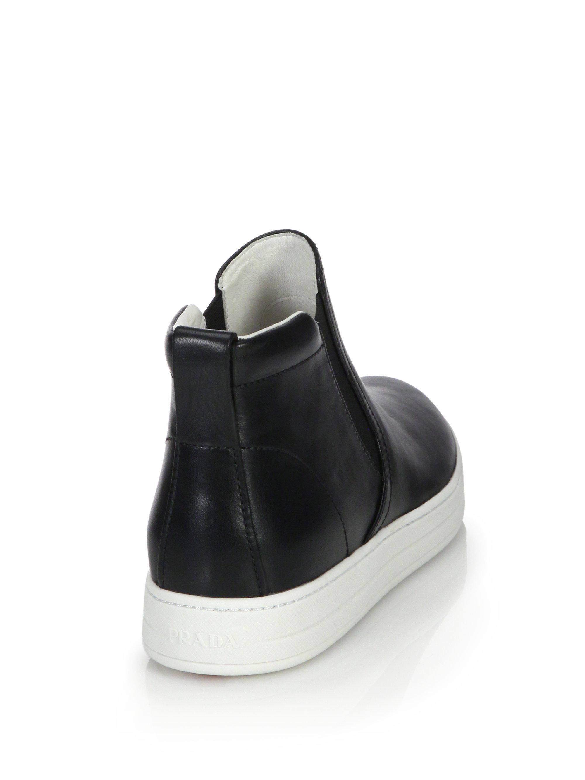 buy prada handbag online - Prada High-top Leather Skate Sneakers in Black (black-white) | Lyst