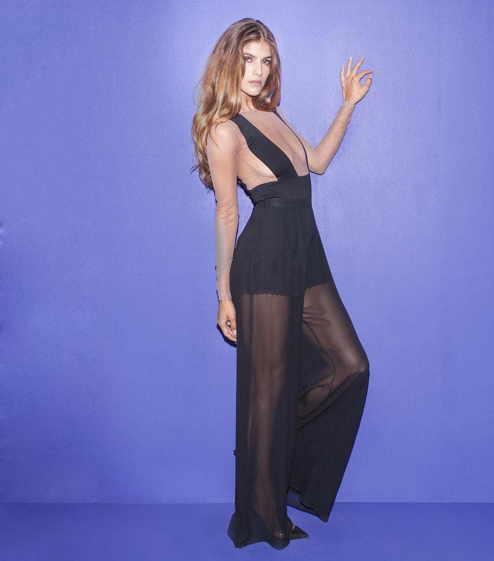 black sheer wide leg pants - Pi Pants