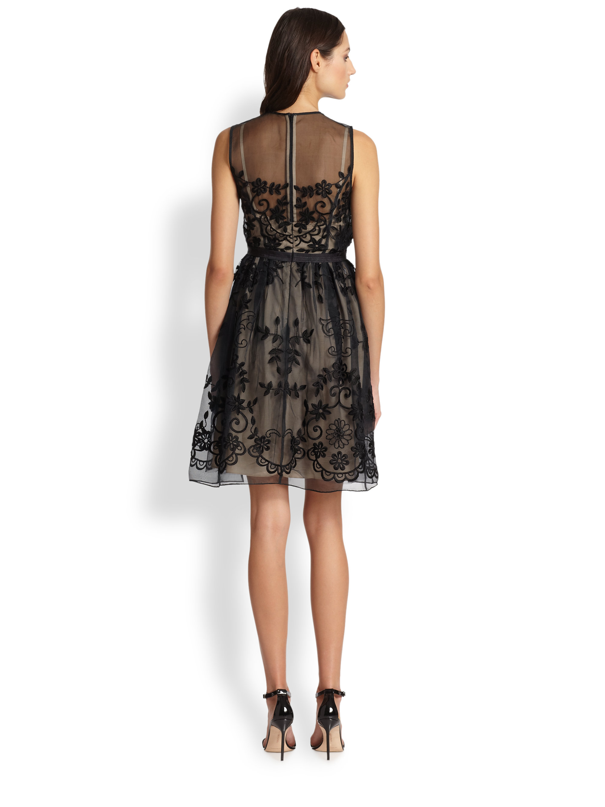 Lyst Needle Amp Thread Floral Embroidered Sheer Organza