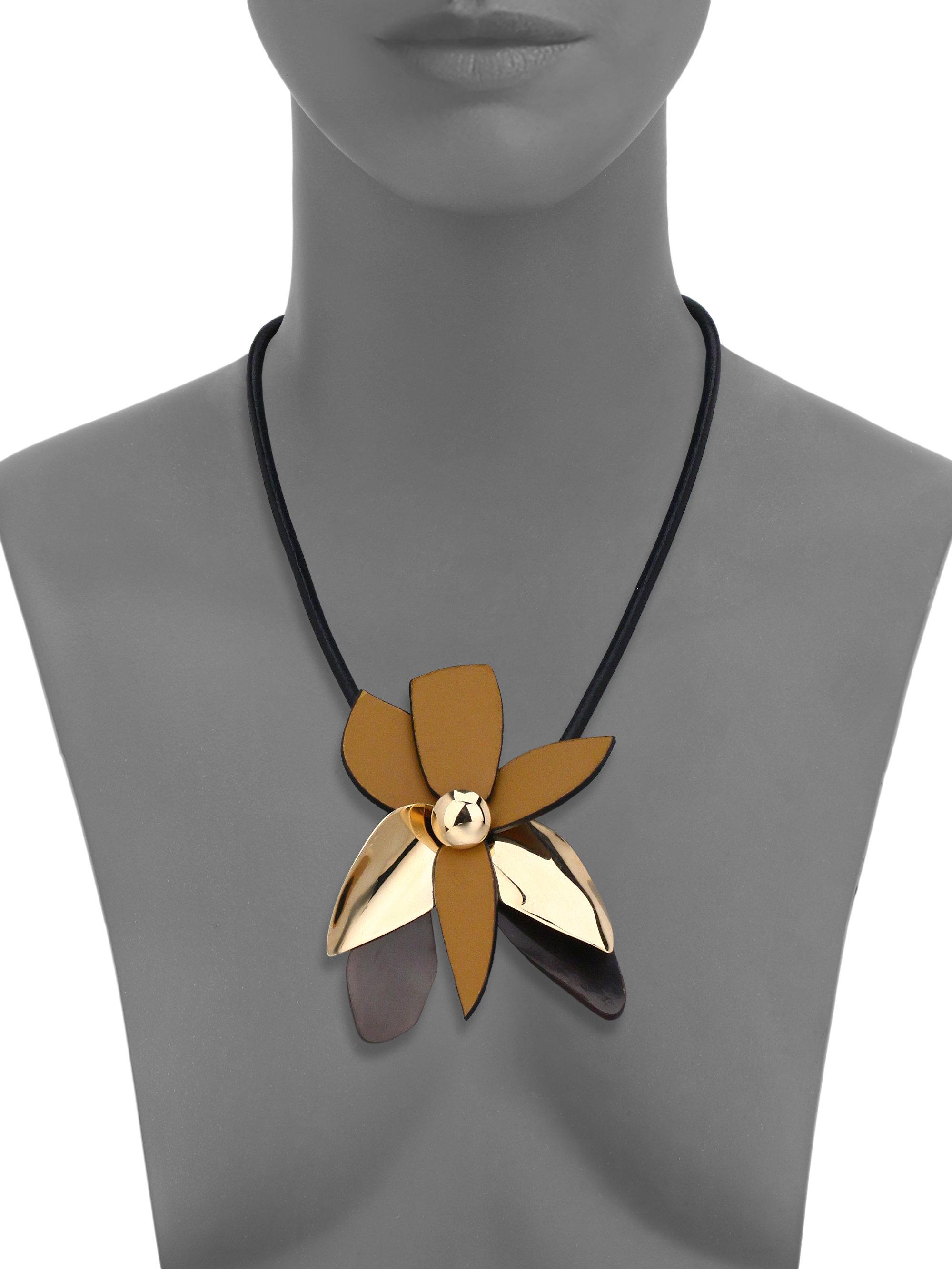 Floral leather wrap choker Marni y3l51