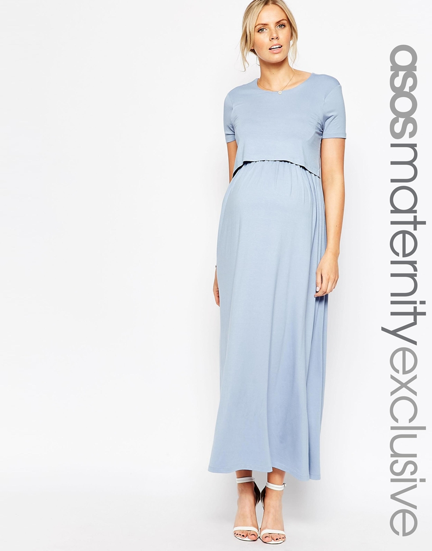 Lyst Asos Nursing Maxi Dress With Double Layer In Blue