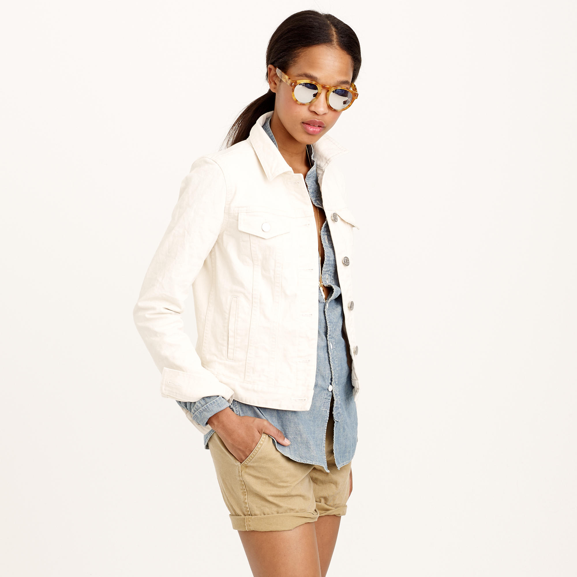 Jcrew Denim Jacket In Ecru Wash In Natural  Lyst-8044