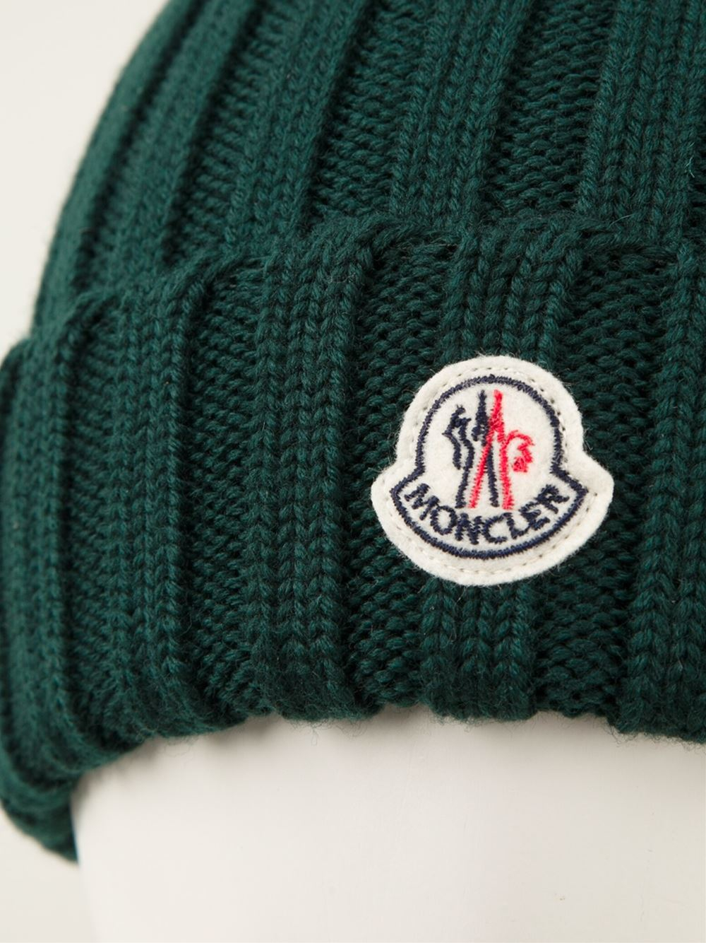 Lyst - Moncler Ribbed Beanie in Green for Men 24ef2694786
