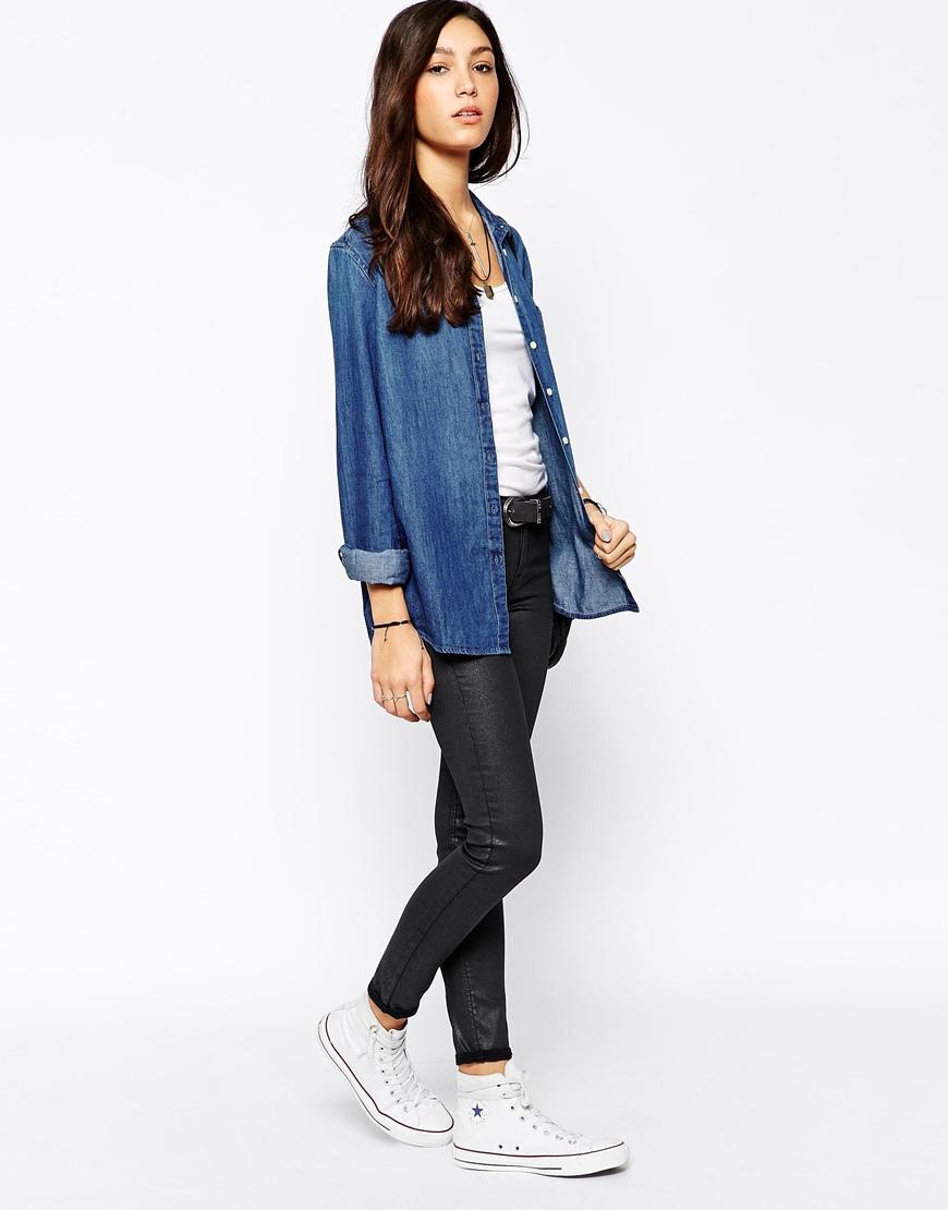4177896b7 Lee Jeans One Pocket Blue Denim Shirt in Blue - Lyst
