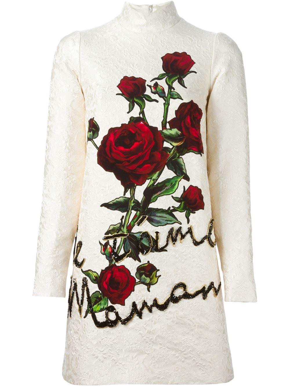 Dolce Amp Gabbana Rose Appliqu 233 Brocade Dress In Red Lyst