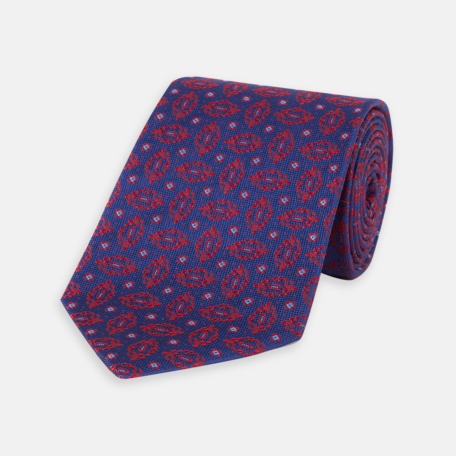 turnbull asser blue squashed circles navy and silk