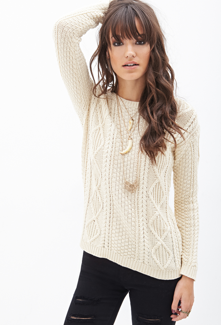 Forever 21 Slouchy Cable Knit Sweater In Natural Lyst
