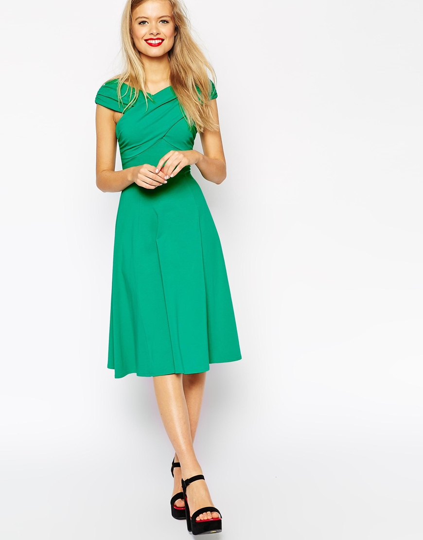 7a4a9acda420 Lyst - ASOS Midi Skater Dress With Bardot Cross Shoulder Detail in Green