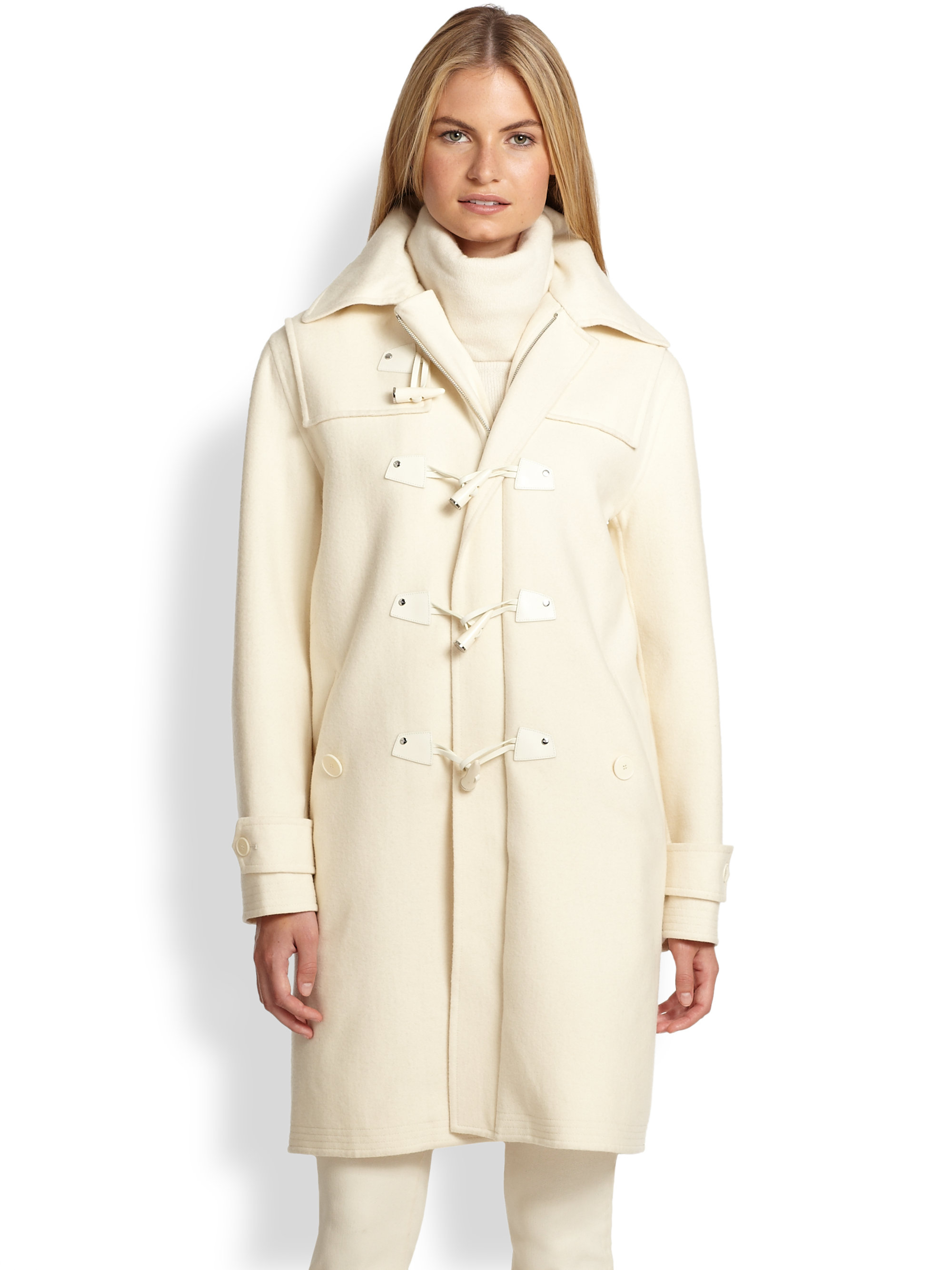 Ralph lauren black label Garrett Wool Duffle Coat in White | Lyst