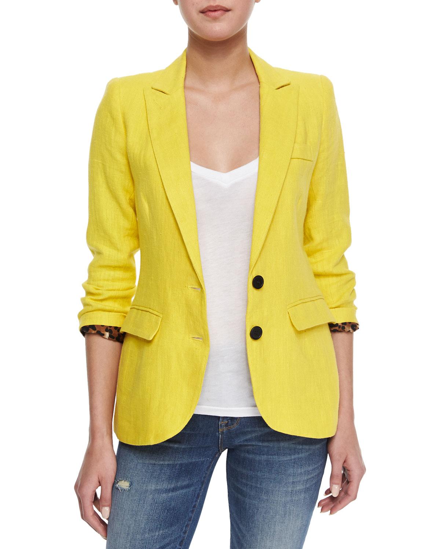 Smythe Linen Blazer W/leopard-print Lining in Yellow | Lyst