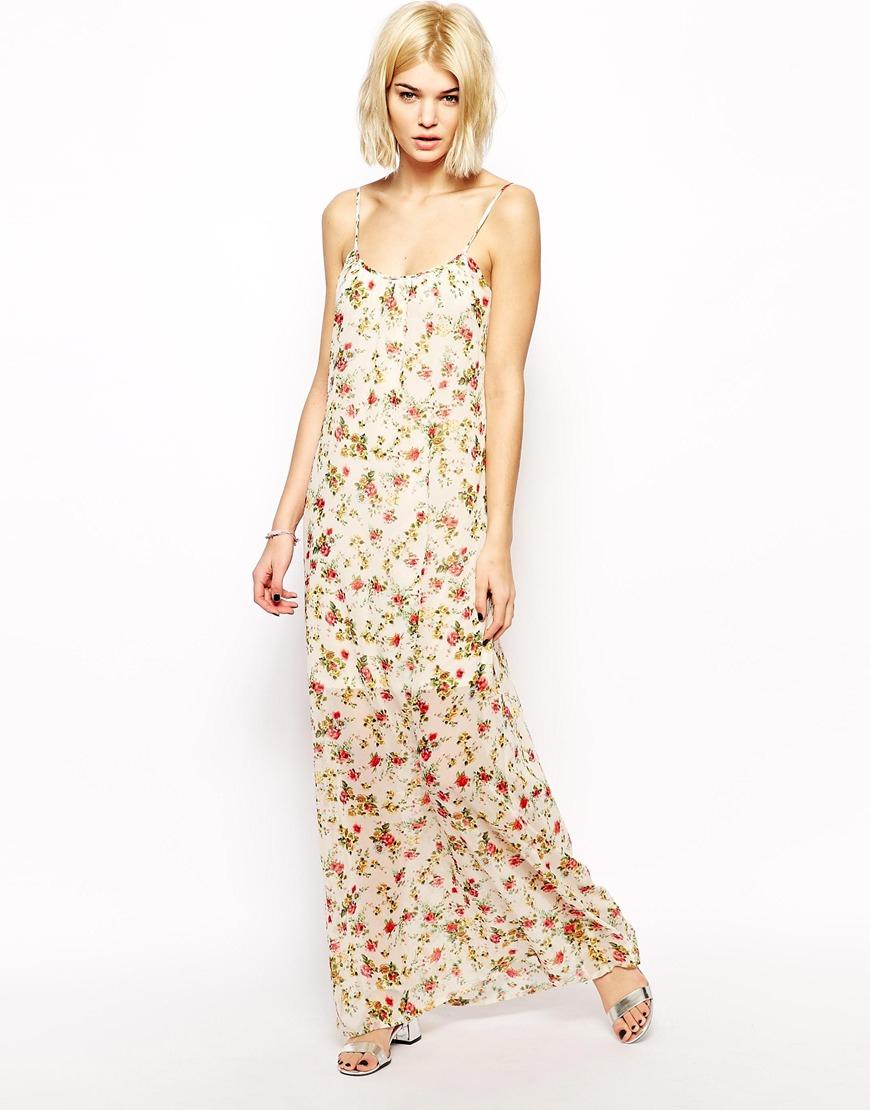 Mango Floral Print Maxi Dress in Pink - Lyst