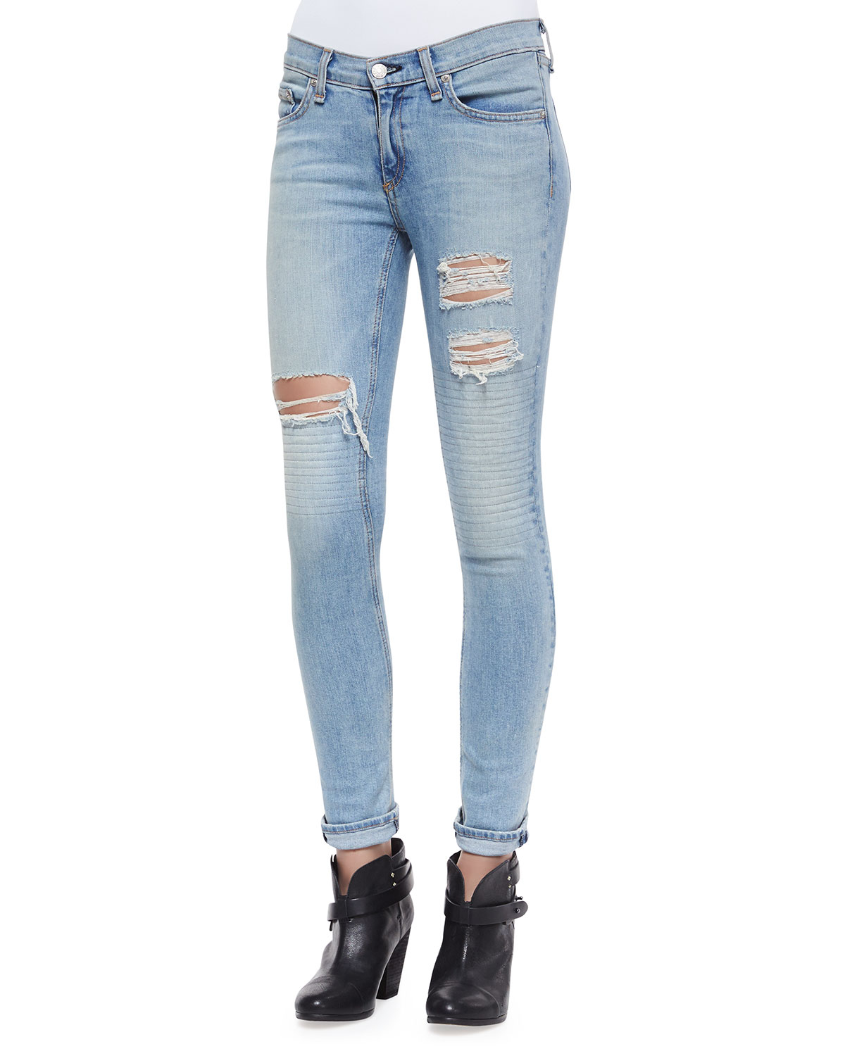 Rag & bone The Skinny Ripped Jeans in Blue | Lyst