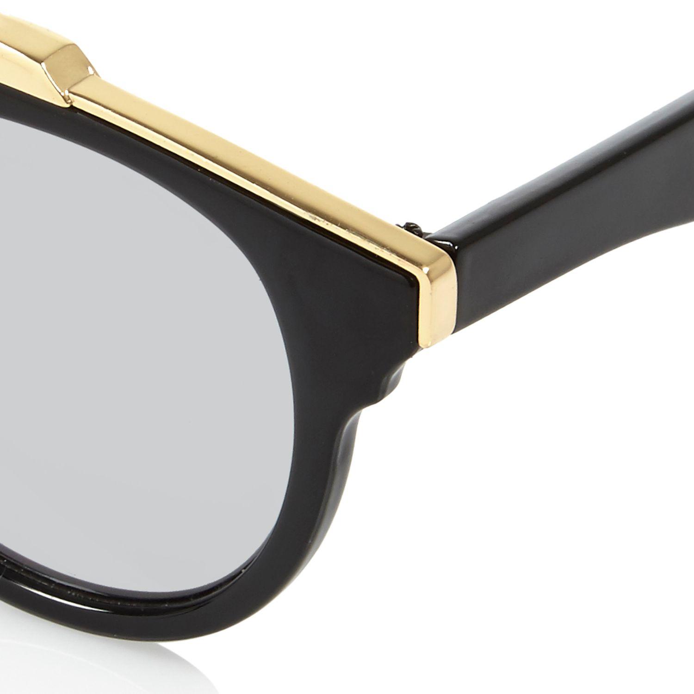 Sunglasses Island  river island black round brow bar mirrored sunglasses in black lyst