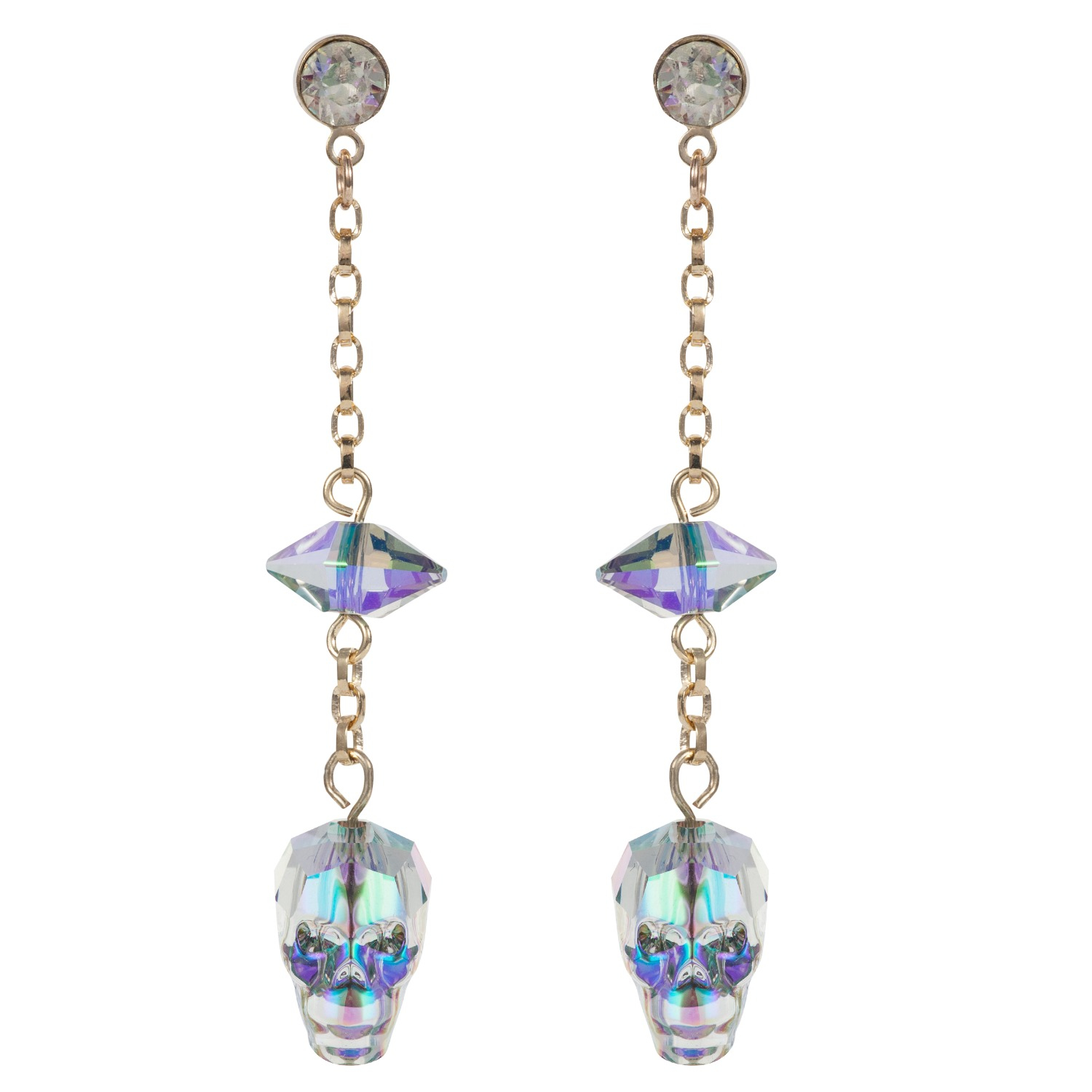 Lyst Nadia Minkoff Glass Skull Amp Spike Earrings Crystal
