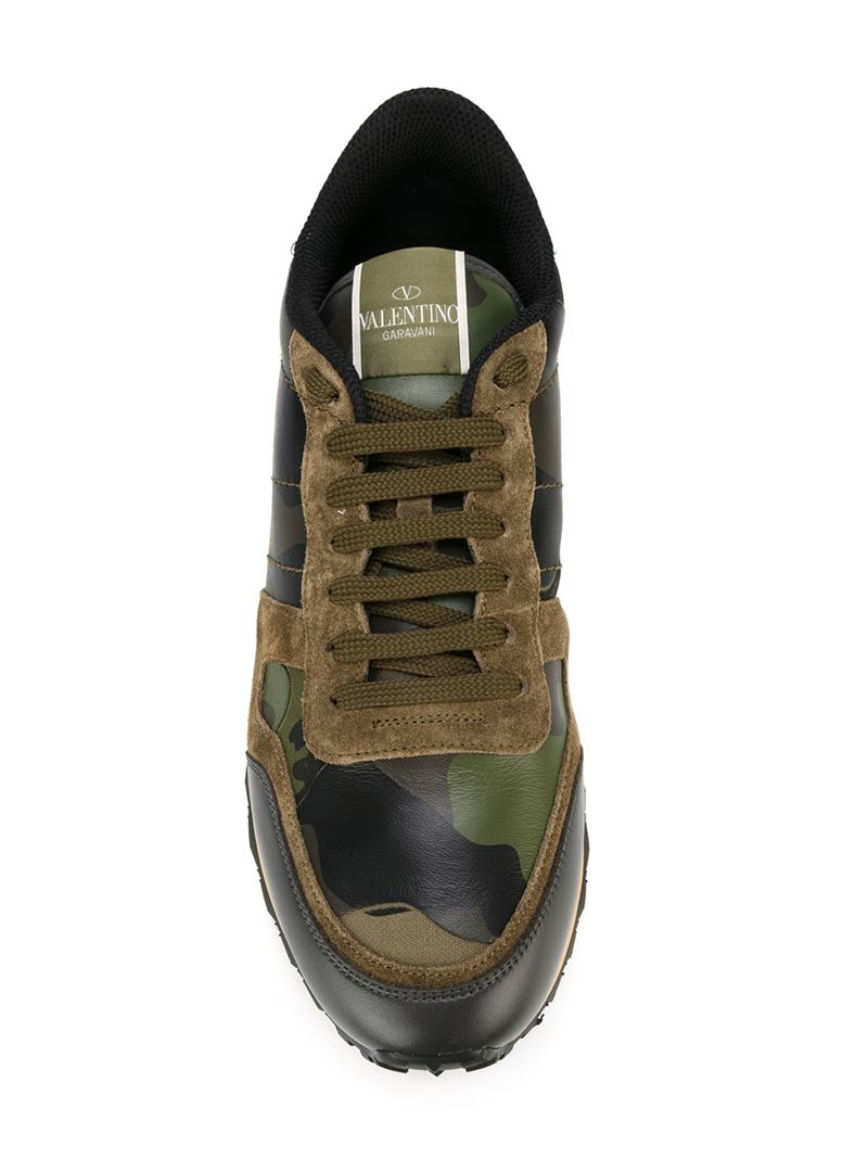 44a56006fbe65 Valentino Rockrunner Camouflage Low-Top Sneakers in Green for Men - Lyst