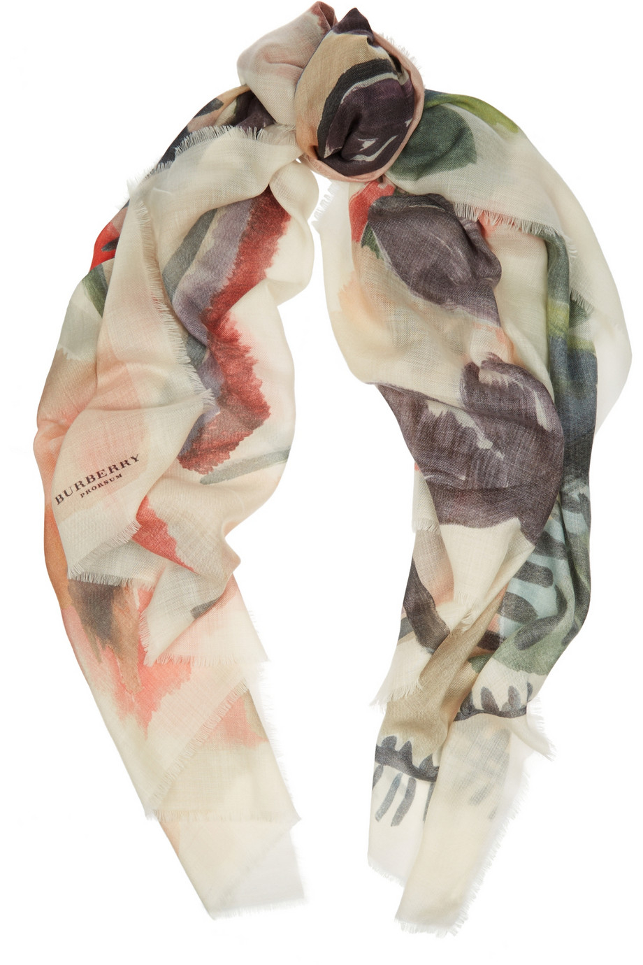 Lyst Burberry Prorsum Printed Cashmere Scarf In Natural