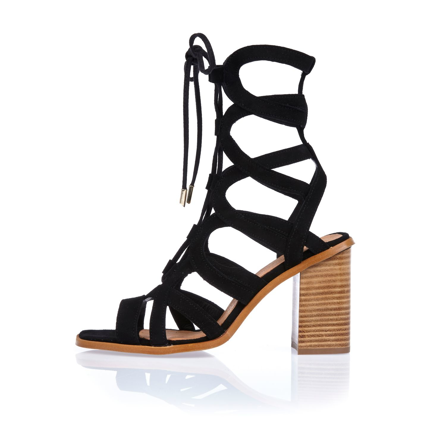 618a510e002 River Island Black Suede Lace-up Caged Block Heel Sandals in Black ...