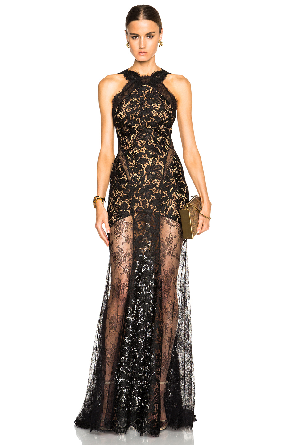 lyst emilio pucci long lace dress with sheer paneling in