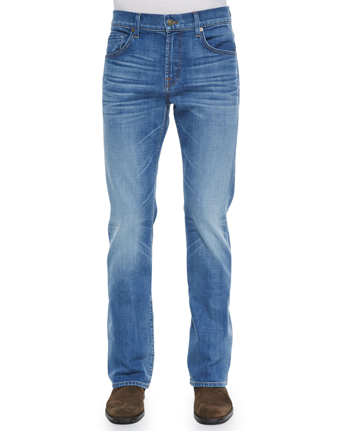 7 for all mankind Brett Boot-Cut Stretch Denim Jeans in Blue for ...