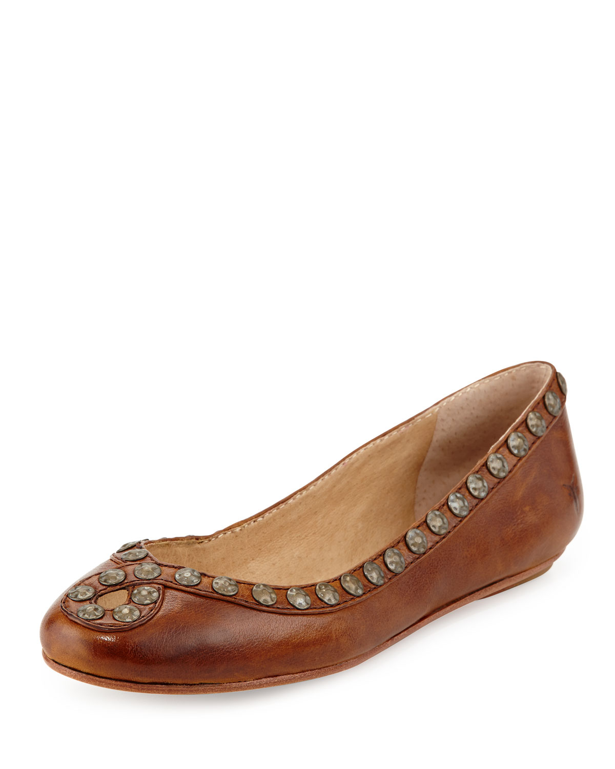 frye hammered stud leather flat cognac 6 in brown lyst