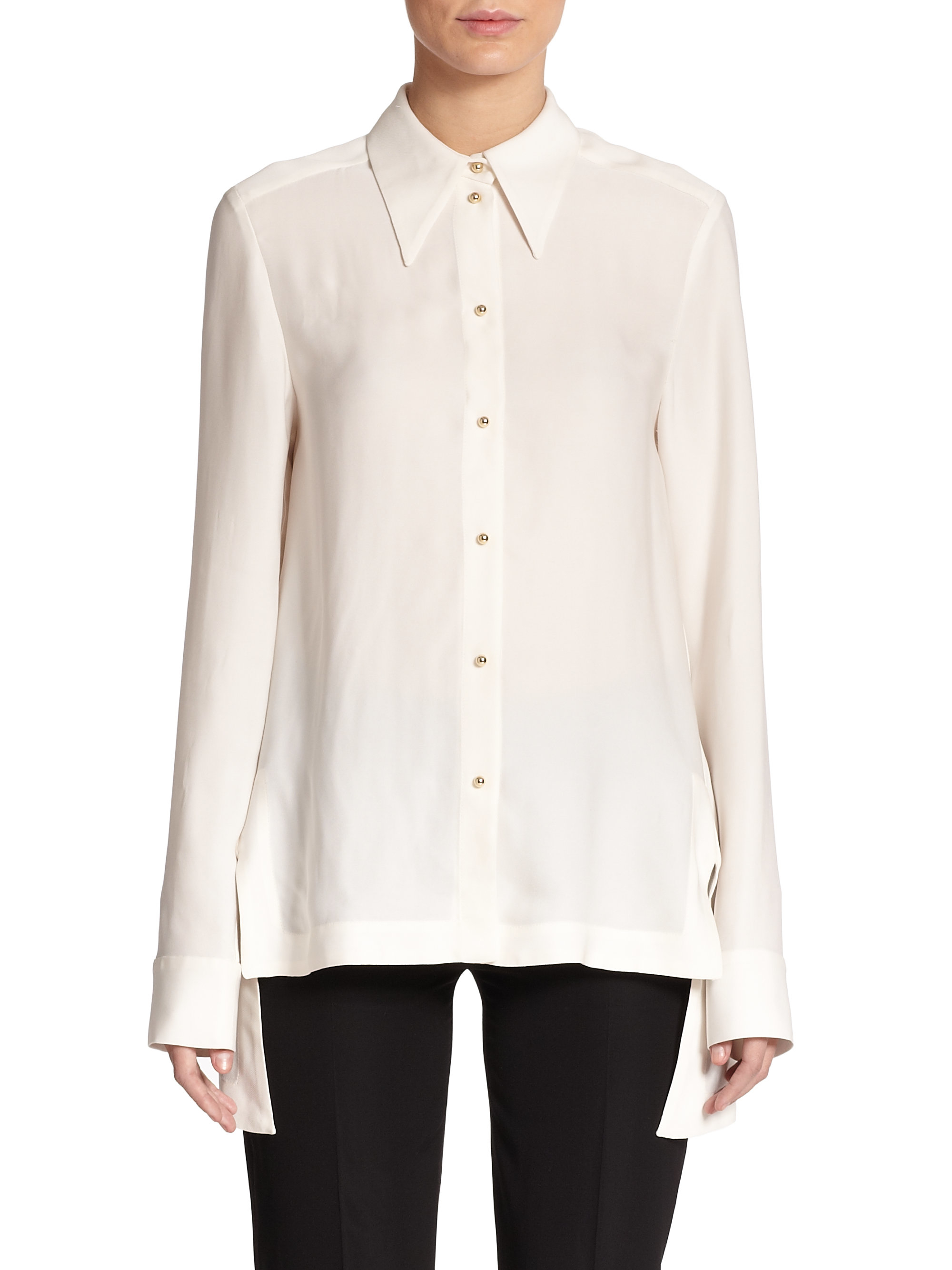 Stella mccartney Jones Gold-button Blouse in White | Lyst