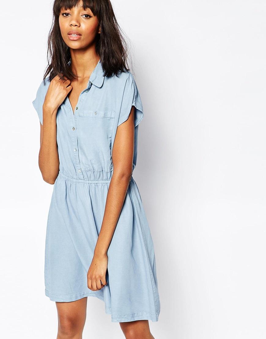 d94245c6ae1b Lyst - Minimum Denim Skater Dress in Blue