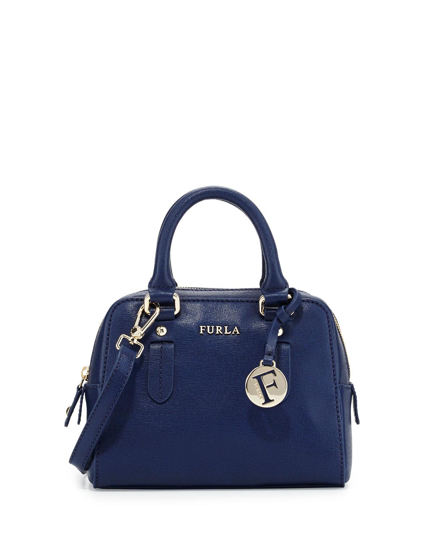 Furla Elena Mini Leather Satchel Bag in Blue | Lyst