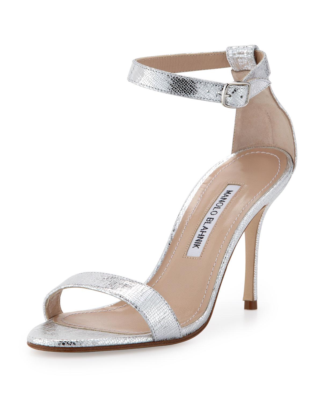 4f910b42d70 Lyst - Manolo Blahnik Chaos Metallic Anklewrap Sandal Silver in Metallic