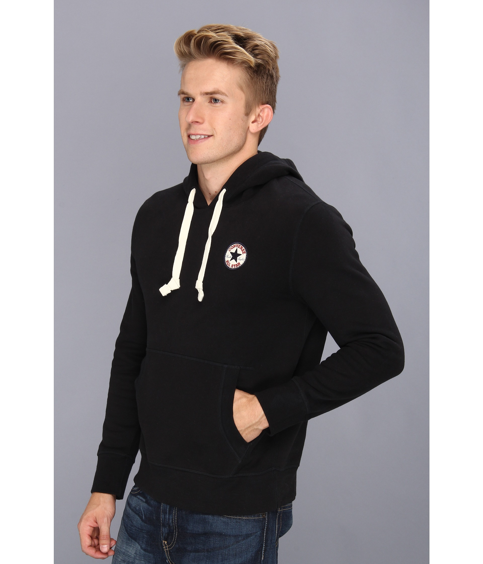 Lyst - Converse Core Chuck Patch Fleece Pullover Hoodie in Black for Men 4f051207aba90