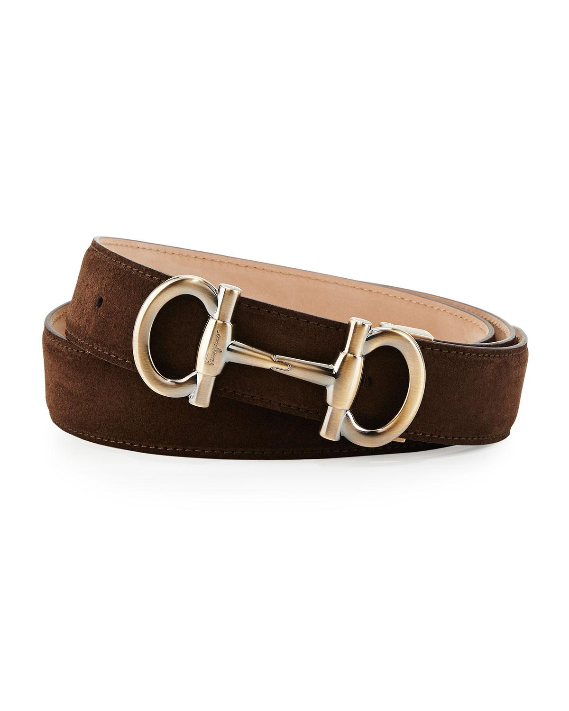 ferragamo parigi suede gancini bit belt in brown for