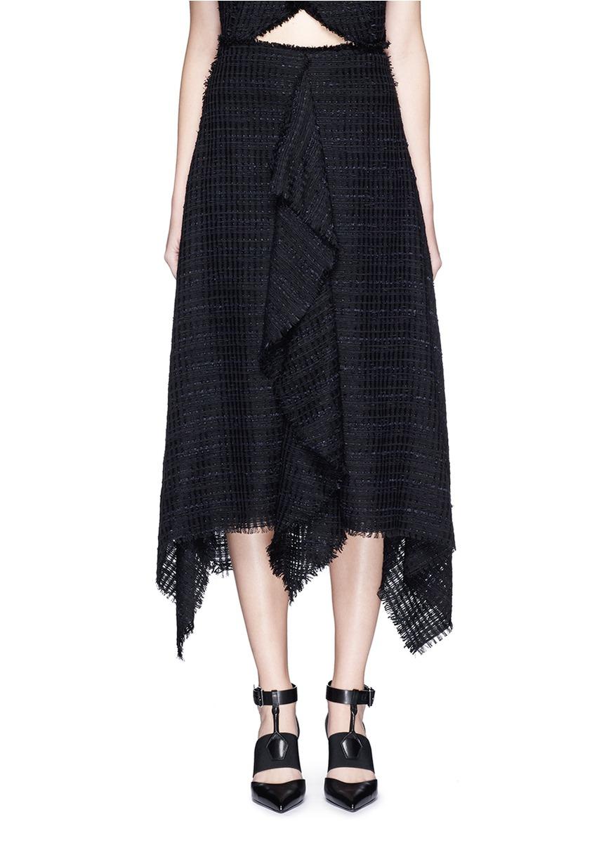 Lyst Proenza Schouler Frayed Tweed Ruffle Handkerchief Skirt In Black