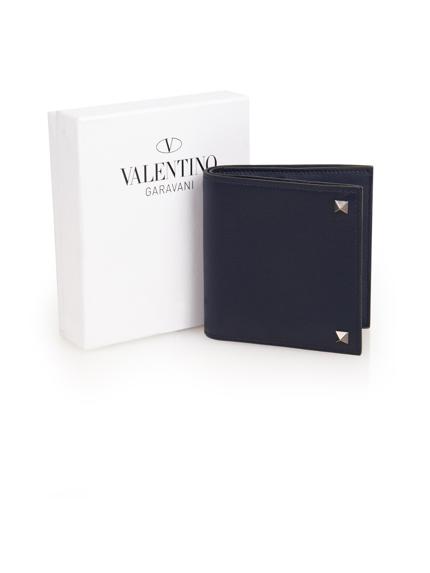 Lyst - Valentino Rockstud Leather Wallet in Blue for Men
