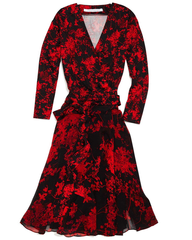 Red wrap floral dress Diane Von Fürstenberg YBEOwU
