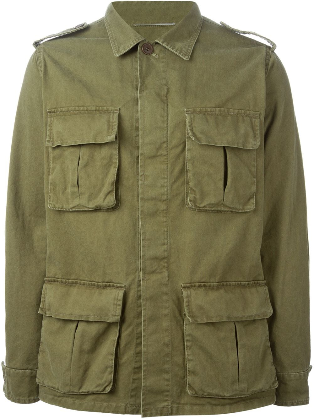 Saint laurent Military Style Jacket in Green for Men | Lyst