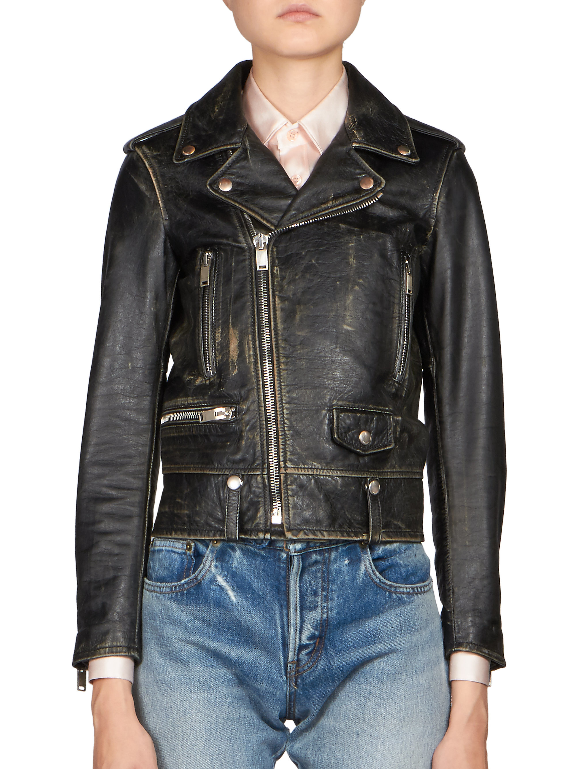 5566056608b Saint Laurent Distressed Leather Biker Jacket in Black - Lyst