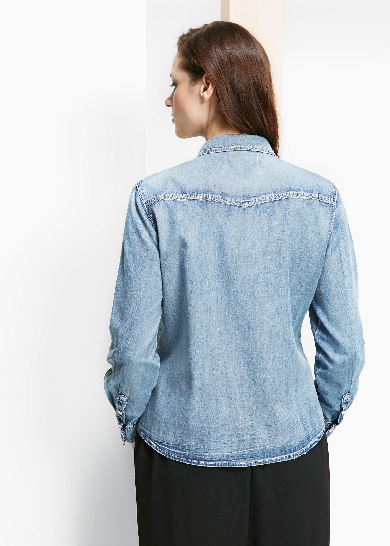 Violeta By Mango Light Denim Shirt In Blue Lyst