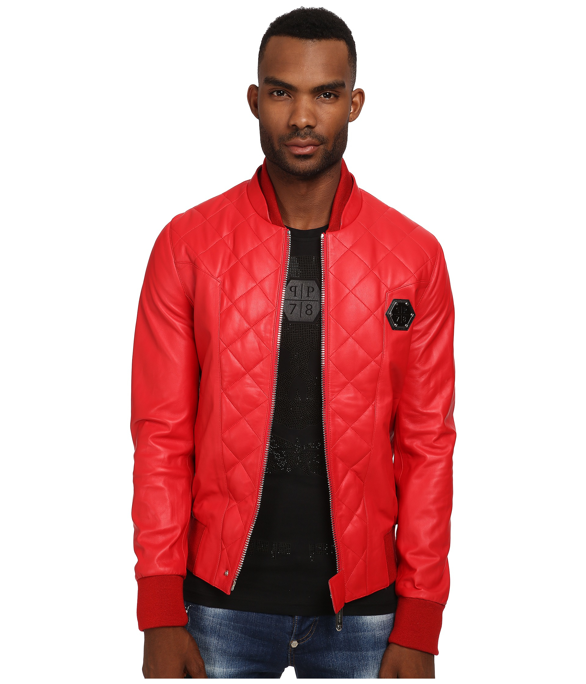 Philipp Plein No One Leather Jacket In Red For Men Lyst