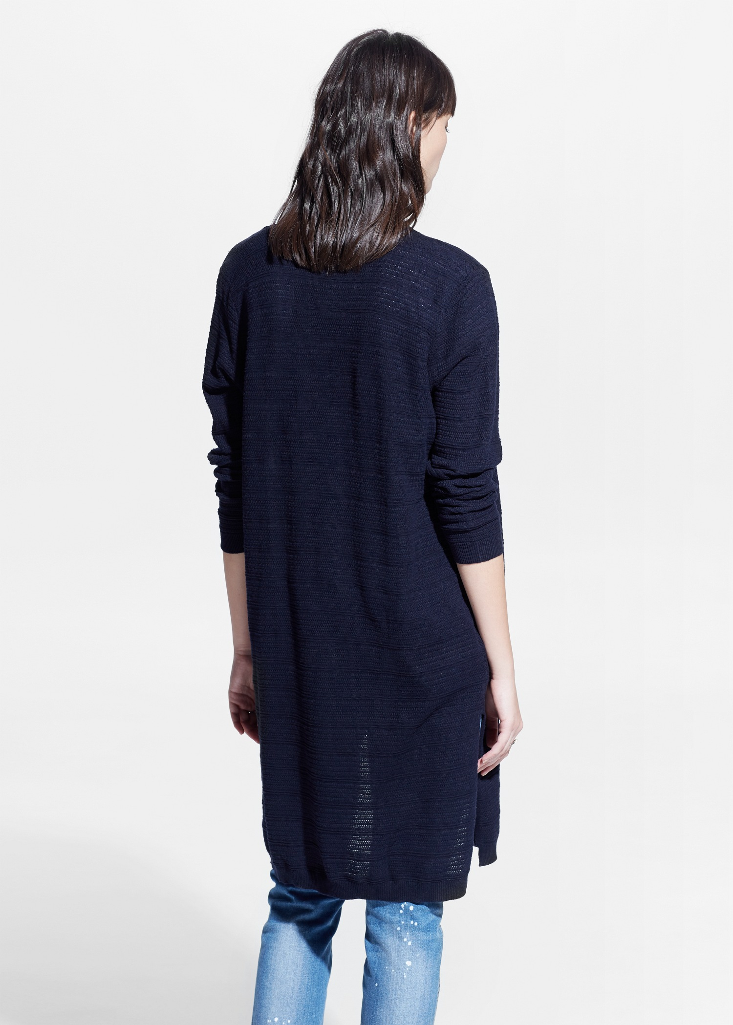 Mango Long Cotton Cardigan in Blue | Lyst