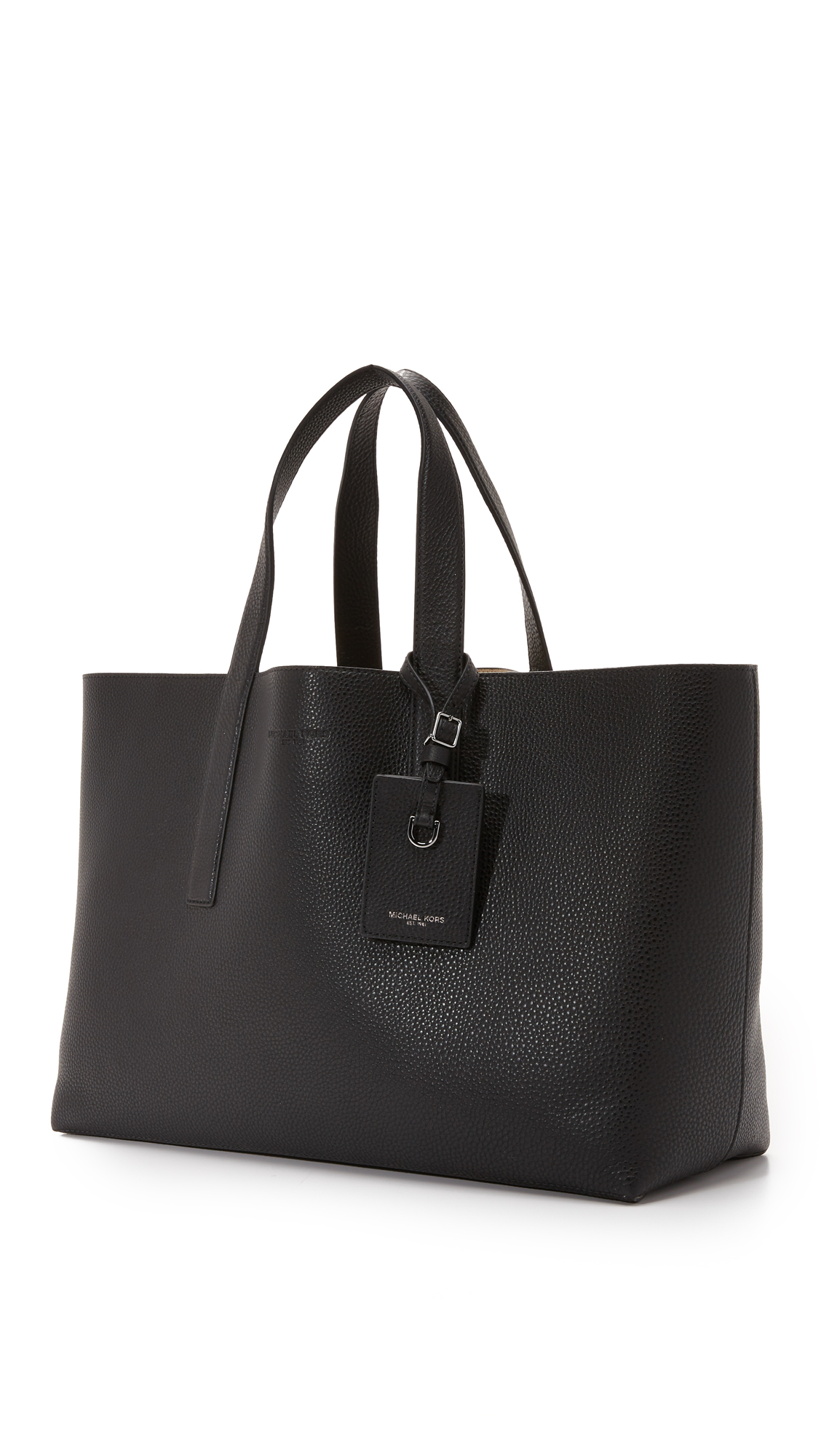 ee9b48d6710f Lyst - Michael Kors Mason East West Reversible Leather Tote in Black ...