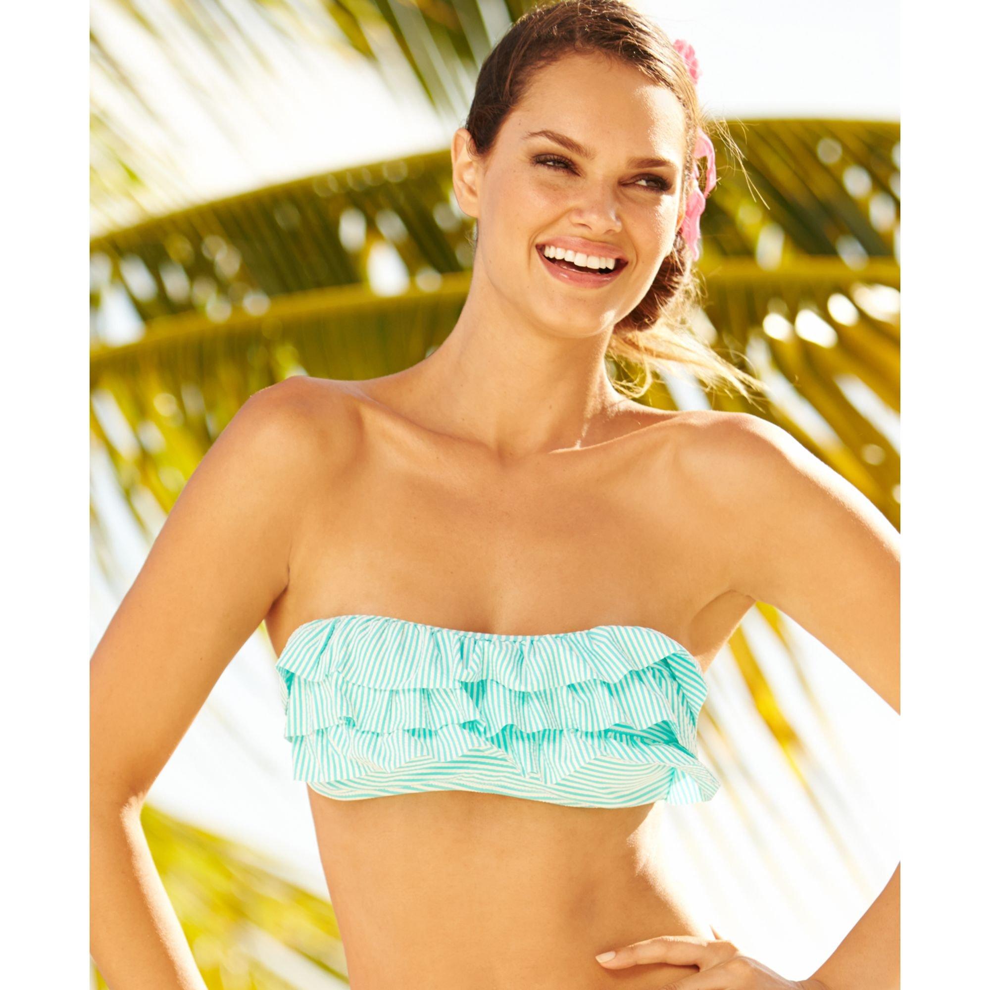 ce6993ec03e Lyst - Jessica Simpson Seersucker Ruffle Bandeau Bikini Top in Blue
