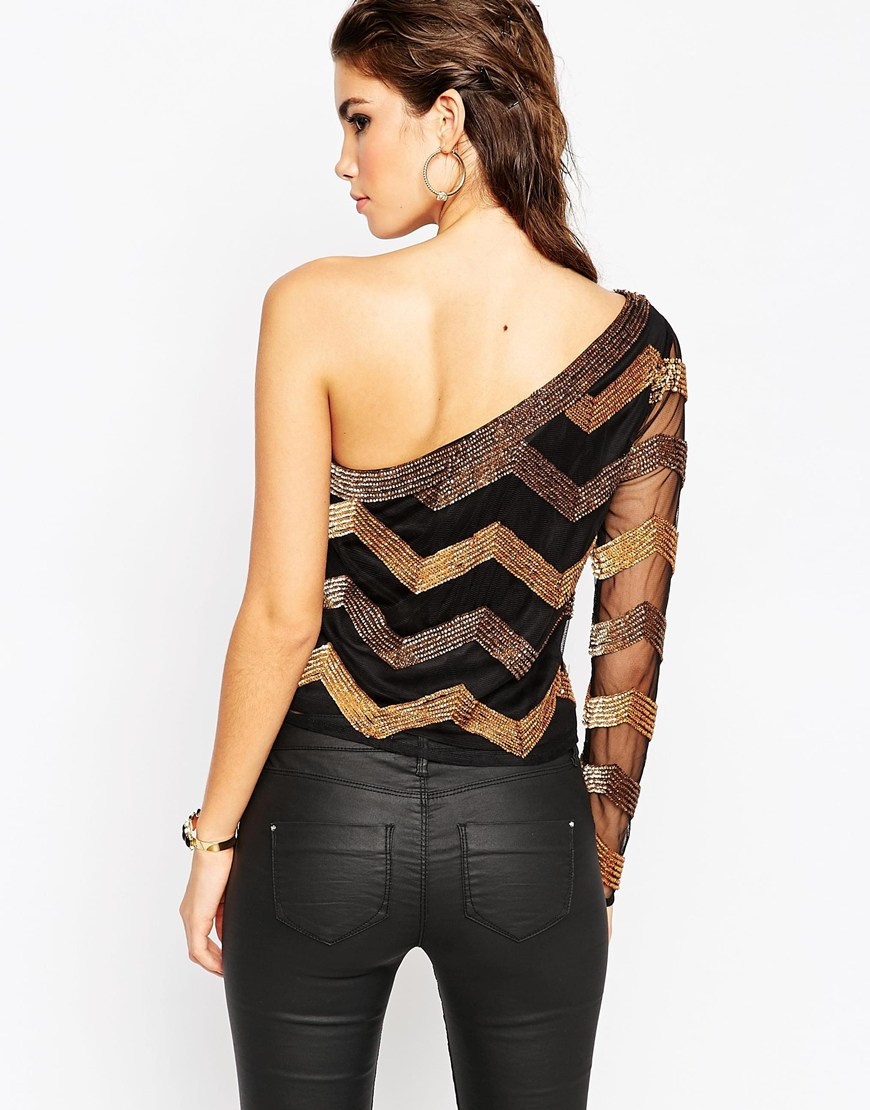 7dd23c8830a67 Lyst - ASOS Night Top With One Shoulder In Stripe Sequin in Black