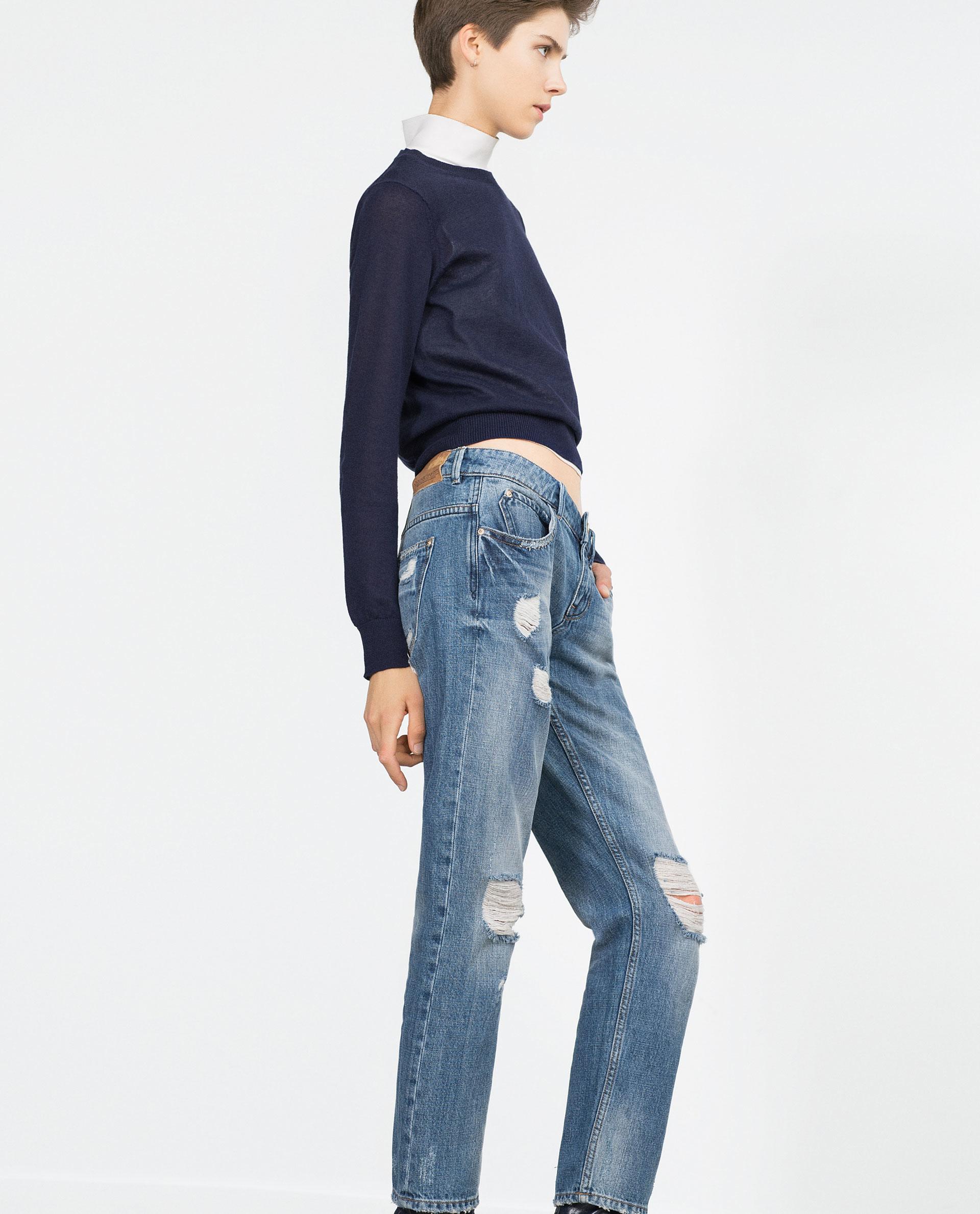 Zara Ripped Boyfriend Jeans in Blue | Lyst