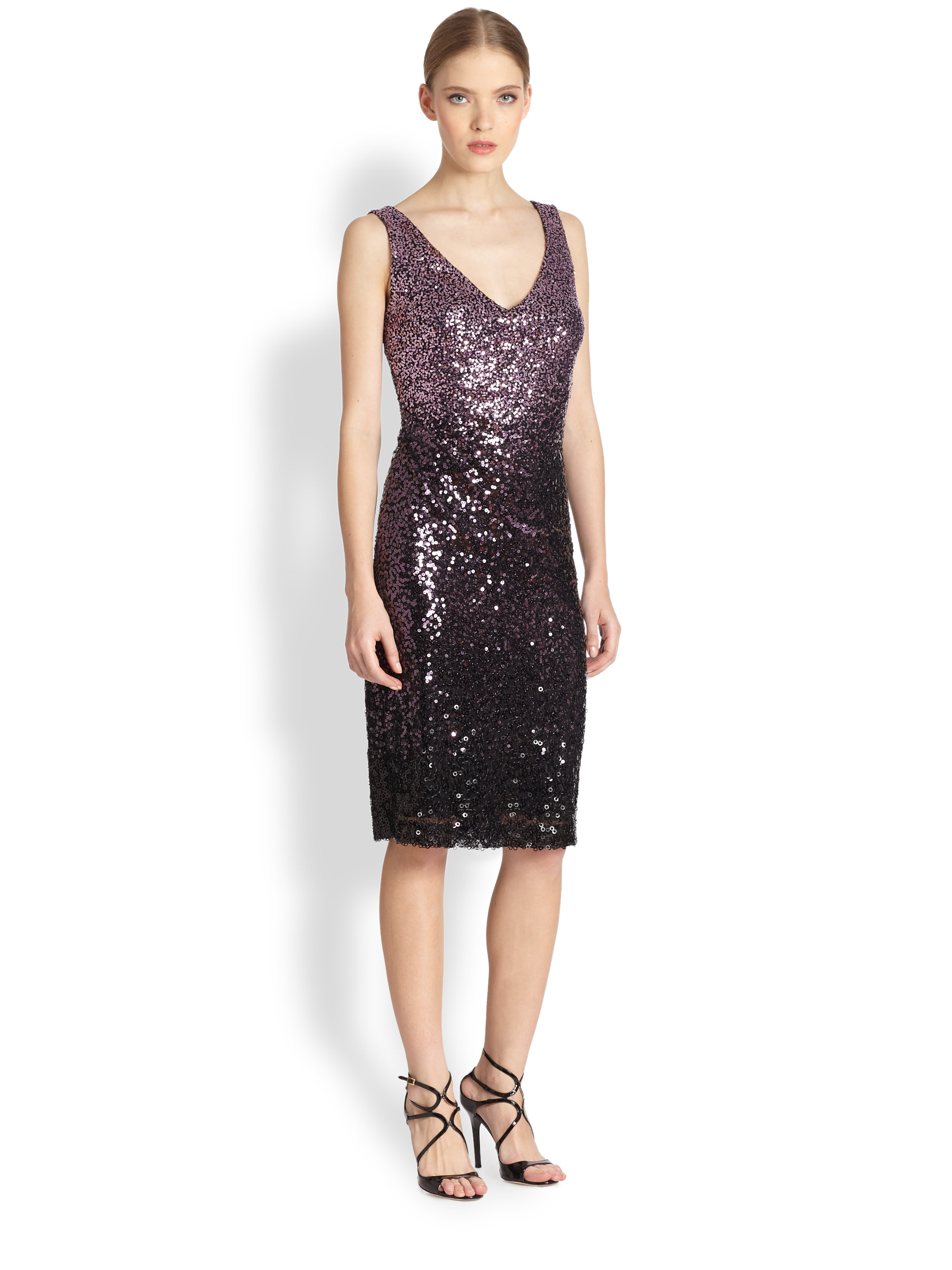 David meister Sleeveless Ombre Sequin Dress in Purple | Lyst
