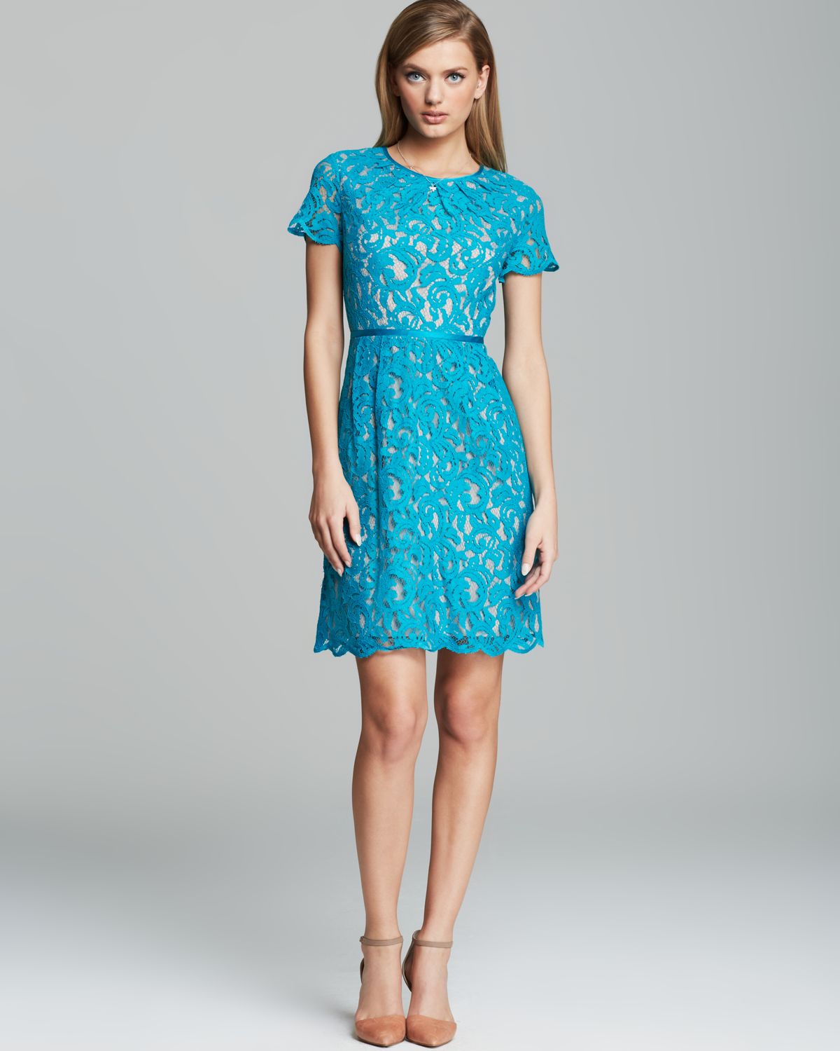 Lyst Adrianna Papell Dress Short Sleeve Lace Fit And