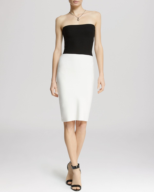Halston Dress - Strapless Sweater in Black | Lyst