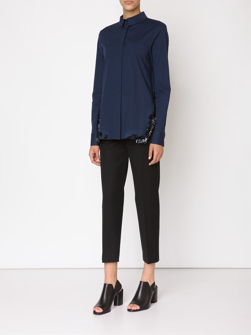 lyst dorothee schumacher embellished shirt in blue. Black Bedroom Furniture Sets. Home Design Ideas