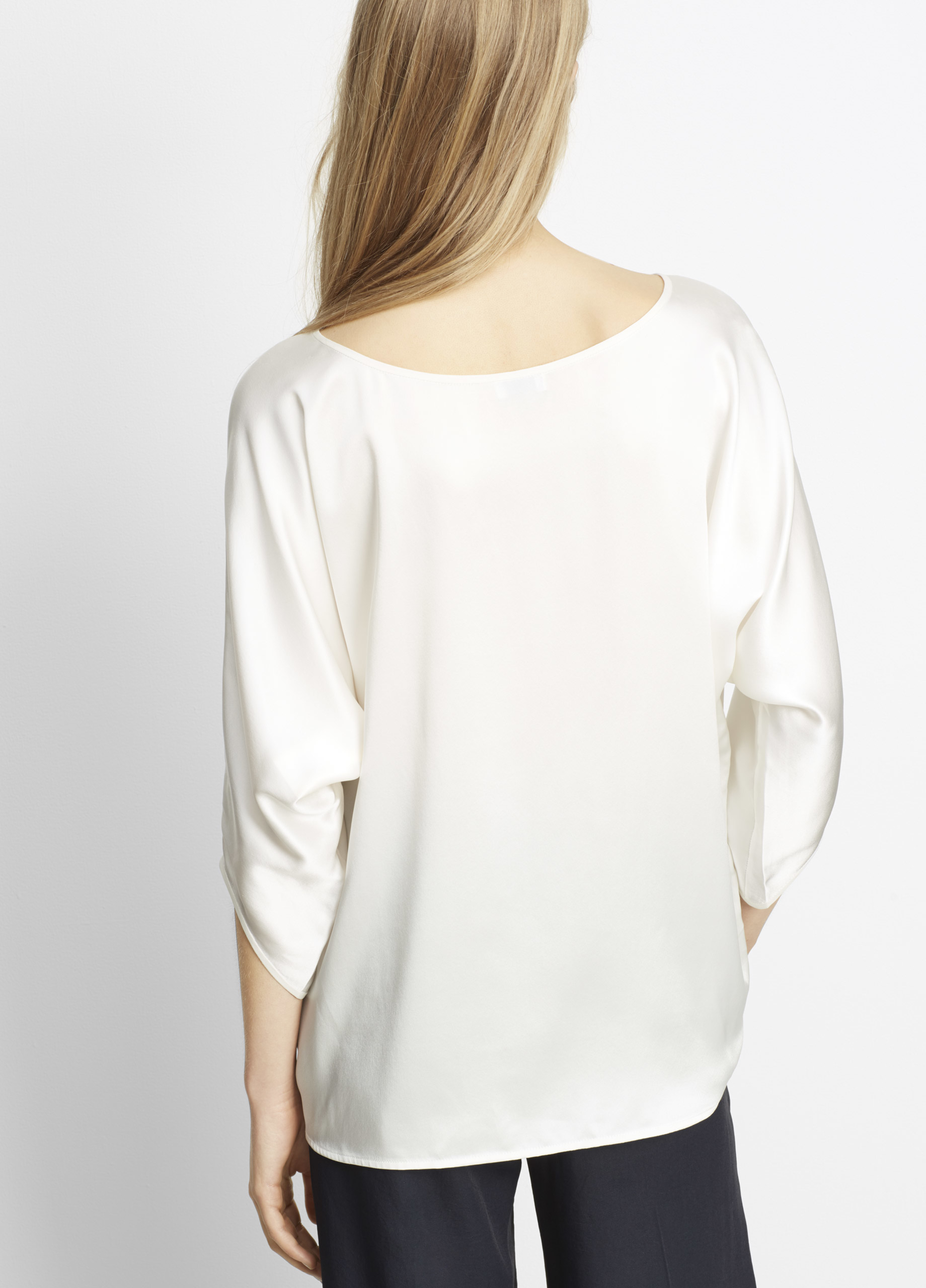 cf2df4f73b4e5 Vince Silk Satin Envelope Sleeve Blouse in White - Lyst