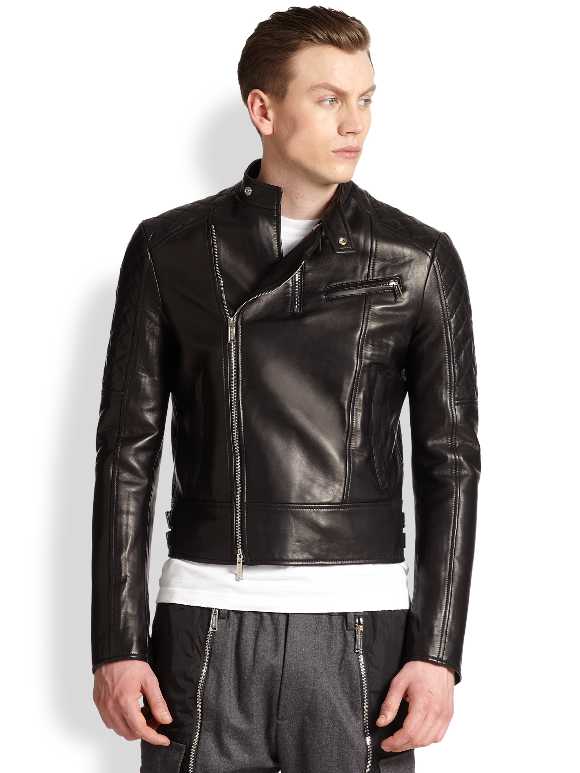 Lyst Dsquared 178 Quilted Leather Motorcycle Jacket In