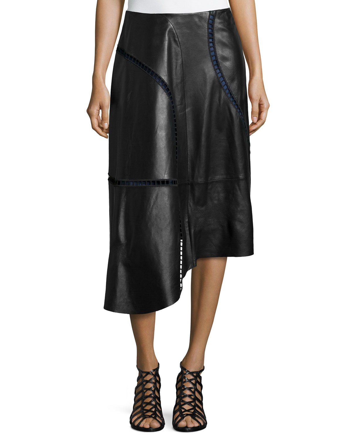 tibi eska cutout trim leather skirt in black lyst